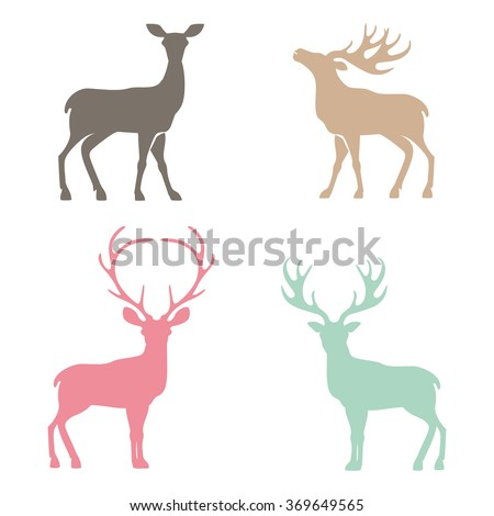 Various silhouettes of deer isolated on white background, christmas deers - stock vector