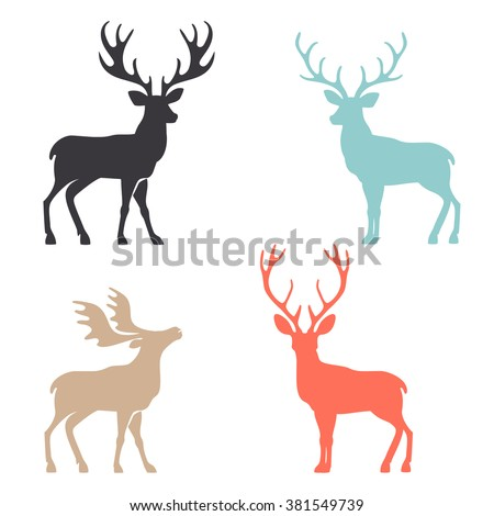Various silhouettes of deer isolated on white background, christmas deers. - stock vector