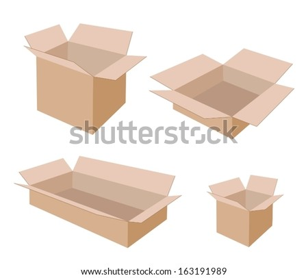 Various Size of Open Empty Cardboard Box Isolated on White Background, For Packaging Products and Materials.  - stock vector