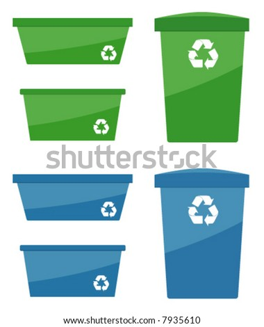Various Sizes of Recycling Containers - stock vector