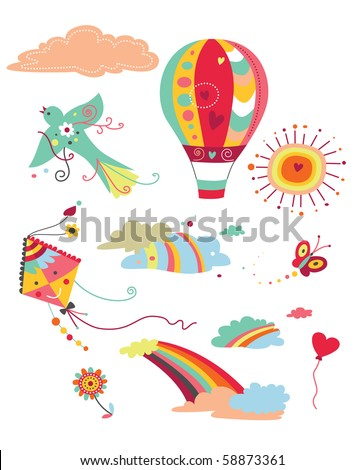 Various sky related elements with bright colors. - stock vector
