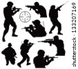 various soldiers in combat silhouettes - stock vector