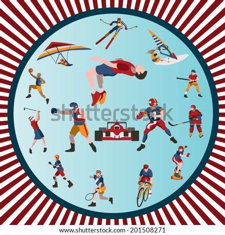 Various sport figures in motion, vector illustration - stock vector