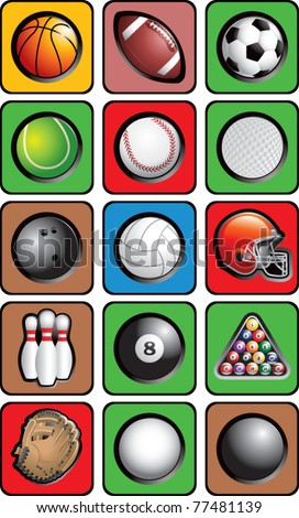 Various sports balls and equipment in square multicolored web buttons - stock vector