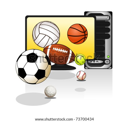 Various sports balls with computer