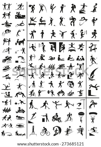 various sports black people icons on a white background - stock vector