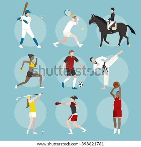 Various sports player  - stock vector