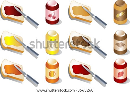 ... , peanut butter, chocolate. Isometric 3d illustration - stock vector