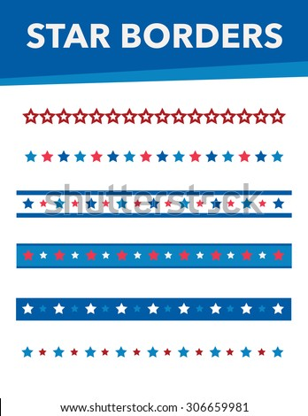 Various star borders with red, white and blue colors - stock vector