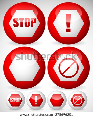 Various stop, attention or warning signs. Vector. - stock vector