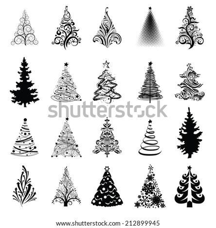 Various stylized Christmas trees! Vector eps8 - stock vector