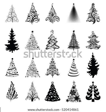 Various stylized set of Christmas trees. Vector eps8