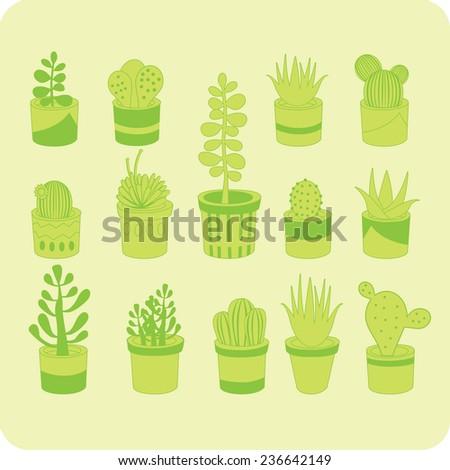 Various succulent mix green vector seamless pattern - stock vector