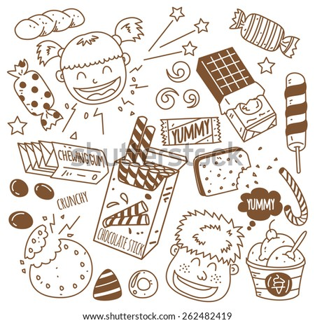 various sweets with happy kids in doodle style - stock vector