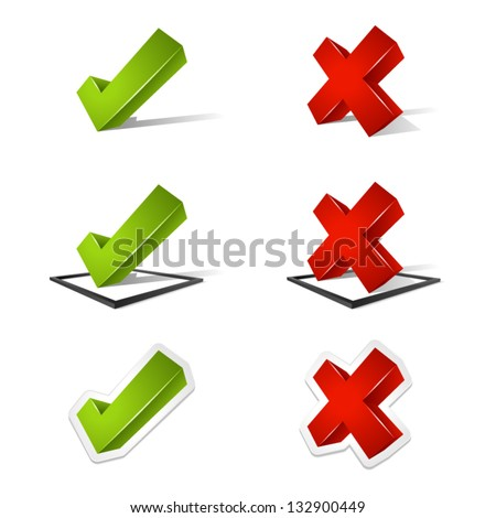 Various three dimensional green check marks and red x marks. - stock vector