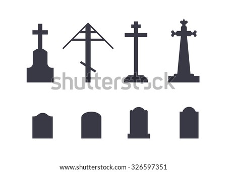 Various tombstones icons set. Black and white vector logos isolated on white background