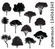 various trees silhouettes - stock vector