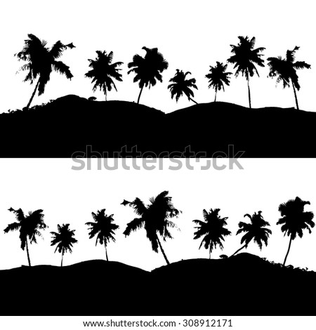 various tropical palm tree landscape black symbols eps10