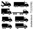 Various truck silhouettes in black - stock vector