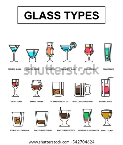 Various Types Of Alcoholic Drinks In Recommended Glasses. Vector  Illustration.