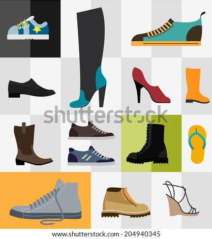 Various types of footware for man and women - stock vector