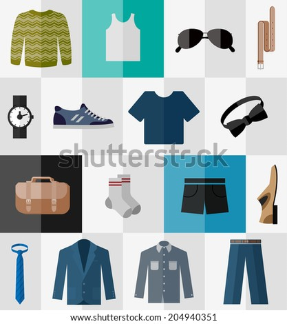 Various types of men's clothes for work and leisure