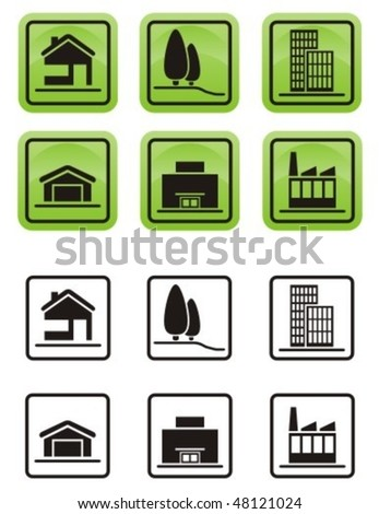 Various types of real estate icons set. - stock vector