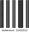 various tyre treads - stock vector