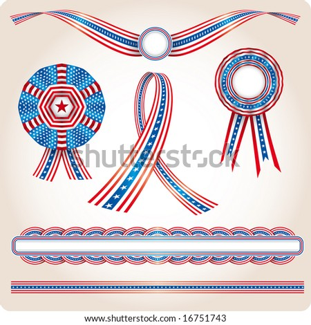 Various USA flag products. Election utilities - stock vector