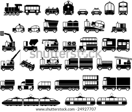Various variants of a car on the white - stock vector