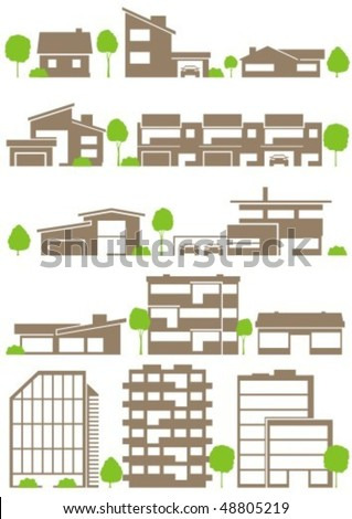 Various variants of buildings - stock vector