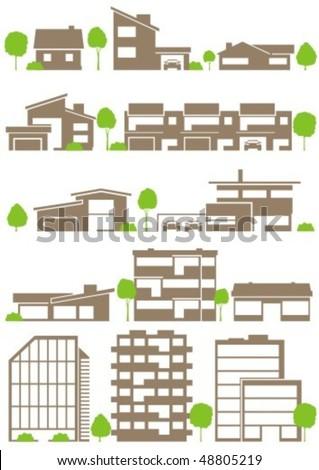 Various variants of buildings - stock vector