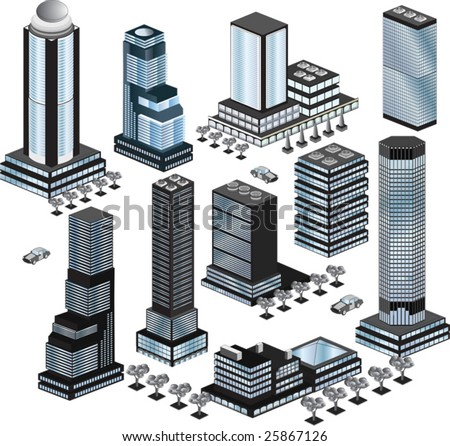 Various variants of buildings on the white - stock vector