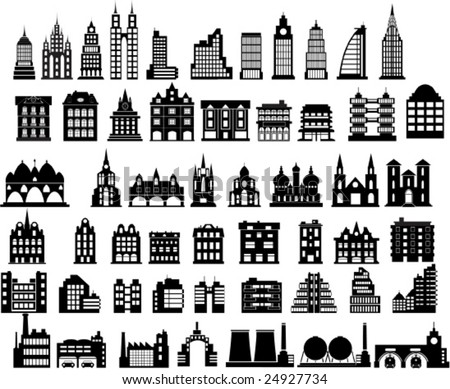 Various variants of houses on the white - stock vector