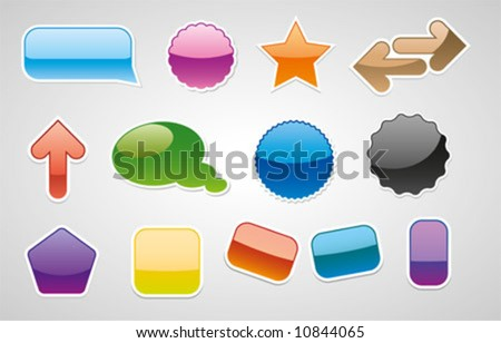 various vector badgets, web 2.0 style - stock vector
