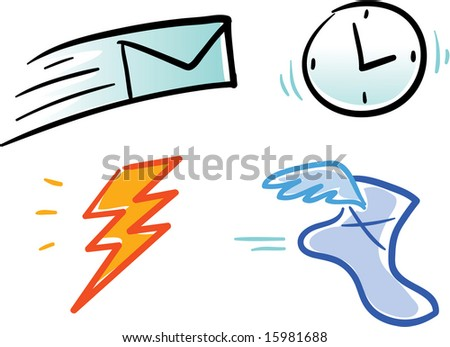 various vector icons and symbols: email, time, bolt, speed - stock vector