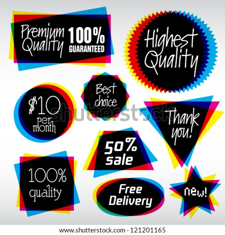 Various Vector Labels in CMYK like style. Useful Logo Symbols.  - stock vector