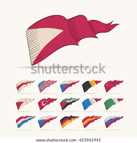 Various vector national triangle flag set. Easy editable global retro colors. - stock vector