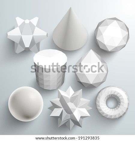Various Vector Polygonal Shapes - stock vector