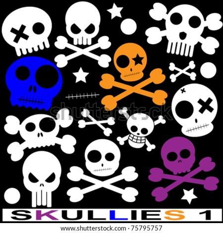 various vector skulls - stock vector