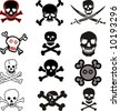 various vector skulls and crossbones design - stock photo
