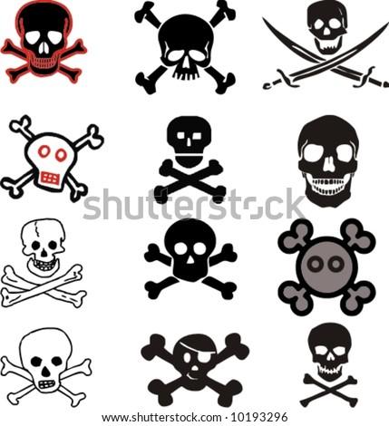 various vector skulls and crossbones design - stock vector