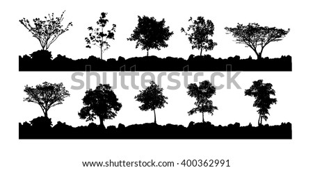 various vector trees silhouettes