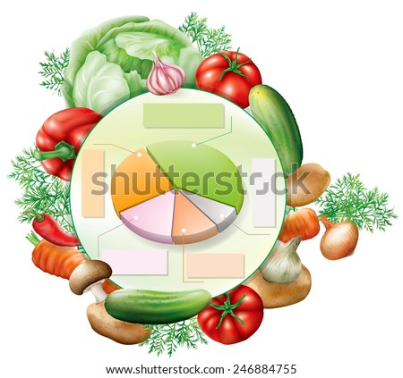 Various vegetables around pie chart infographic elements. Vector illustration
