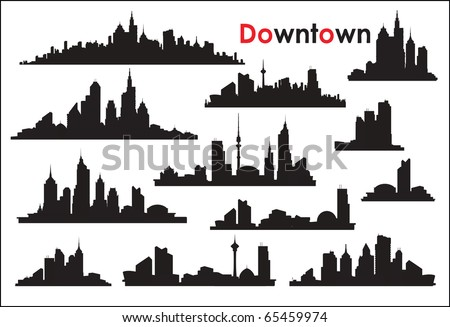 Various versions of the silhouettes of the city - stock vector
