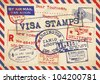 Various Visa Stamps Background - stock photo