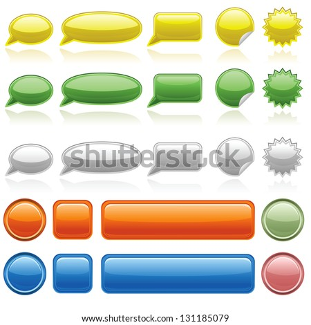 various web icons and buttons - stock vector