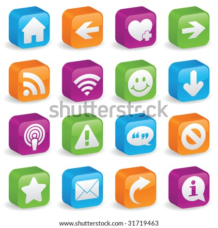 Various web icons and symbols on brightly colored, three-dimensional square buttons - stock vector