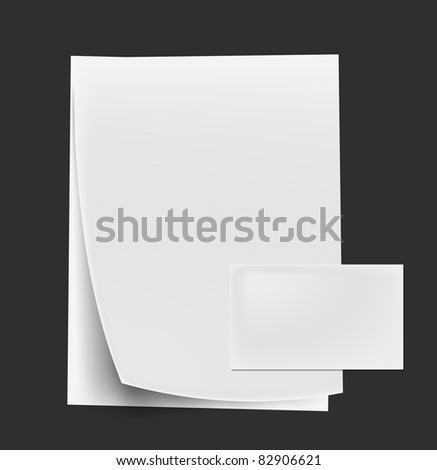 various white note curl papers & card on white background - stock vector