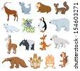 Various Wildlife Animals set on white background - stock vector